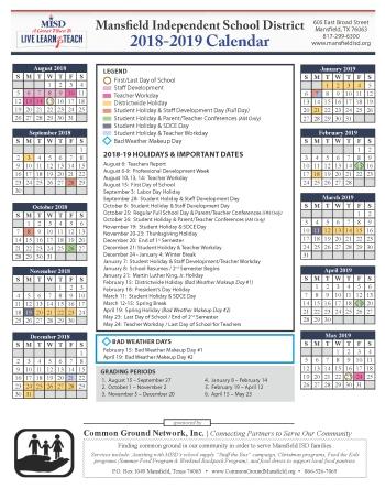 Arlington Isd Calendar 2019 2018 2019 Calendar
